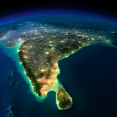 Постер, плакат: Night Earth India And Sri Lanka