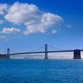 San Francisco Bay bridge from Pier 7 in California USA