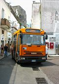 Local bus at the narrow streets of Capri, Italy