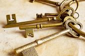 Retro Background Brass Keys