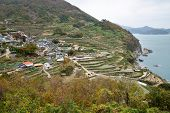 Daraengi Village, Famous Terraced Rice Paddy In Namhae, Korea.