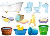 Illustration of bathroom equipments