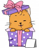 Illustration Featuring a Cat Wrapped as a Gift