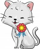 Illustration of a Happy Cat with a Ribbon on its Shoulder