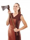 foto of ax  - Halloween image with a crazy young woman holding a rusty old ax - JPG