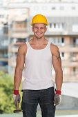 Construction Man Working With Hammer