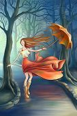 stock photo of dancing rain  - the happy girl with umbrella in the park - JPG