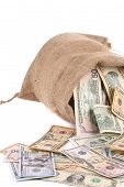 image of ten thousand dollars  - Full sack with dollar bills - JPG