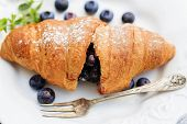 Breakfast - Fresh homemade french croissants with blueberries