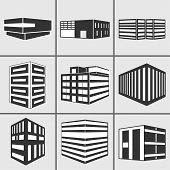 Buildings Vector Web Sticker Icons Set