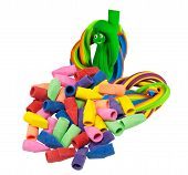 Assortment of rubber erasers