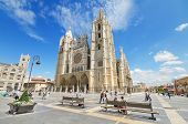 Tourist visiting famous landmark Leon Cathedral Castilla y Leon Spain on August 22 2014