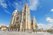 Tourist visiting famous landmark Leon Cathedral Castilla y Leon Spain
