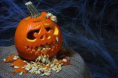 Puking Scary Halloween pumpkin (jack-o-lantern)