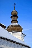 wooden onion dome of refectory church at Mikhailovskiy Monastery in Kiev
