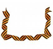 Border frame of black orange strip bow surface close up isolated on white background
