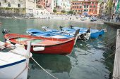 Traditional fishing boats in Monterosso, Cinque Terre, Italy.