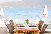 Table Cafe On The Beach Near The Sea