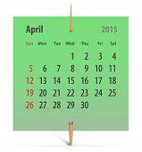 Calendar For April 2015