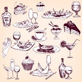 hand drawn set of tableware, food and drinks