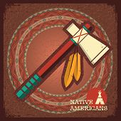 foto of tomahawk  - Native American Indian tomahawk on old paper texture - JPG