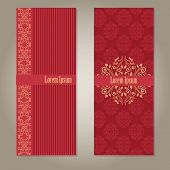 Set of royal deep red and beige gold banners