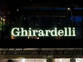 SAN FRANCISCO, CA - NOVEMBER 17: Ghirardelli Sign at Night in Historical Ghiradelli Square November