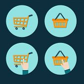 shopping cart flat icon with hand cursor design