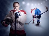 image of hockey arena  - Ice hockey game moment on the arena - JPG
