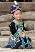 picture of hmong  - cute girl from Laos Hmong in traditional national costume of the ethnic group - JPG