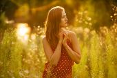 foto of beatitudes  - Beautiful young woman in a dress of wildflowers - JPG