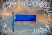 Blue Street Sign With Icicles - Blank And Copy Space