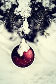 Christmas Ball Hanging On A Spruce Tree - Retro