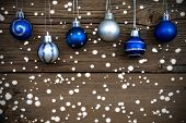 Blue And Silver Christmas Balls With Snow
