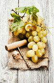 Bunch Of White Grape In Rustic Setting