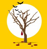Halloween background. Tree with blood dripping.Vector illustration.