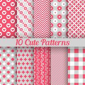 Cute different seamless patterns. Vector illustration
