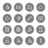 Social media web icons, grey circle buttons