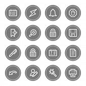 Scheduler web icons, grey circle buttons