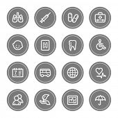 Medicine web icon set 1, grey circle buttons
