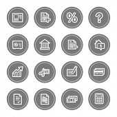 Banking web icons, grey circle buttons