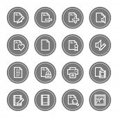 Document web icon set 1, grey circle buttons