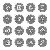 Green ecology web icon set 4, grey circle buttons