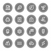 Green ecology web icon set 3, grey circle buttons