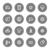 Green ecology web icon set 2, grey circle buttons