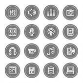 Media web icons, grey circle buttons