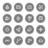 Vacation web icon set 1, grey circle buttons