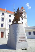 BRATISLAVA, SLOVAKIA - JUNE 26, 2014: Statue of king Svatopluk near Bratislava castle