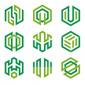 Abstract hexagon shaped vector design elements 3, two shades of green