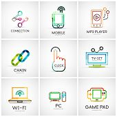 Set of various company logos, business icons. Connection chain mobile phone mp3 player click hand fi